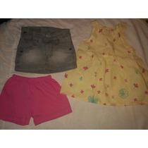 Conjunto X3 Short Talle 1, Pollera Jean Y Vestido Talle 2