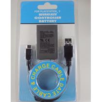 Kit Bateria P/ Controle Ps3 1800mah + Cabo Usb