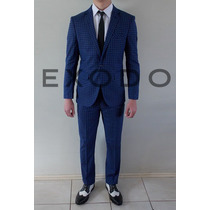 Terno Azul A Cuadrille, Blazer, Pantalon,importado, Nuevo S