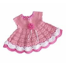 Vestido Mariah De Crochê Infantil - Festa - Marrom E Rosa