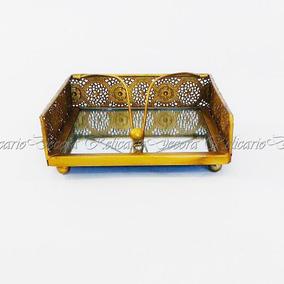 Porta Guardanapo De Papel Em Alumínio Dourado, Niquelado
