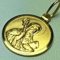 Medalla De San Benito 19 Mm. Oro 18 K. Garantizado
