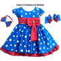 Vestido Festa Infantil Luxo Galinha Pintadinha Com 2 Tiaras