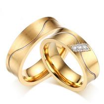 Par Alianças Côncovas Casamento C/ Zircônia Baratas Ouro 18k