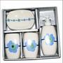 Set Baño Ceramica Porta Jabon Cepillo Dispensador Liquido