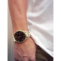 Relógio Masculino Original Dourado Atlantis Romano Gold Pret