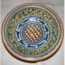 Prato De Porcelana Pintado A Mão,desenhos Losangulos,italy.