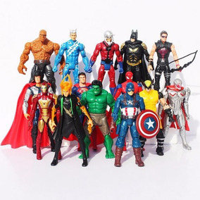 Kit De 14 Bonecos Vingadores Guerra Civil Dc Comics