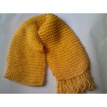 Cachecol Em Trico Feito A Mão Amarelo - Peça Unica