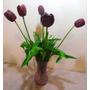 Galho De Flor Artificial Tulipa De Silicone Vinho