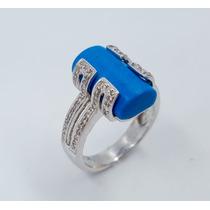 Anillo De Diamantes Con Turquesa Oro 18k