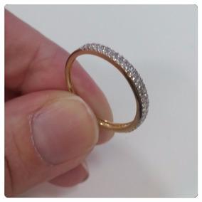 Par Anel Aparador De Ouro 18k 50 Pedras Zircônias Brilhantes