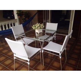 Conjunto Para Sala De Jantar Mesa E 4 Cadeiras Area Externa