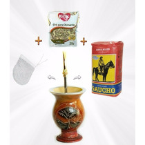 Pc1 Kit Chimarrão Cuia + Bomba + Filtro + Erva + Chá