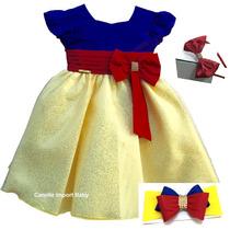 Vestido Branca De Neve Festa Luxo Infanti Com 2 Tiaras