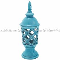 Potiche Cerâmica Azul Design Vazado Imitando Marcas Do Tempo