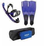 Kit De Mergulho Mascara, Snorkel, Nadadeira E Bolsa Seasub