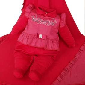 Kit Saida Maternidade Bebê Menina Paraiso Vermelho Ref 6636