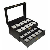 Caja Para Relojes 20 Pzas, Estuche De Madera Con Llave