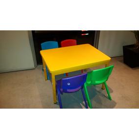 Mesa Infantil 80x60x50 Cubierta Plástica Con 4 Sillas Infant