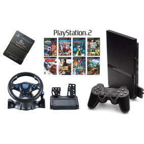 Playstation 2 + Volante + 2 Controles+10 Jogos+memory Card