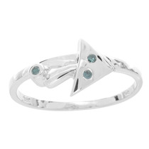 Anillo De Platino Sobre Plata Con Diamantes Azules