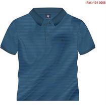 Camisa Polo Masculina Listrada Azul Bs Collection 1018