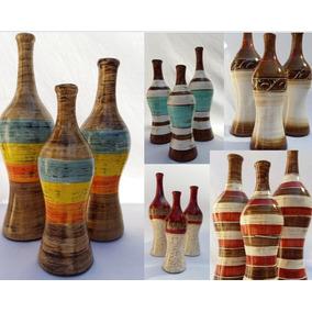 Trio De Vasos Cerâmica Decoração Casa Home Design Sala