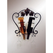 J & J Wire 2 Botella De Vino De Montaje En Pared Y El Estant