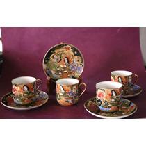 Juego De Café Porcelana Japonesa Estilo Satsuma (150581)
