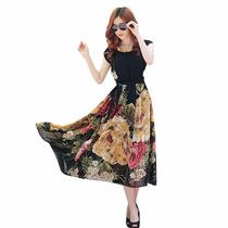 Vestido Seda Chifon Estampa Floral Festa