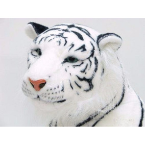 Tigre Branco Pelúcia Gigante Realista 110cm