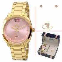 Kit Relógio Allora Feminino Com Anel E Brinco - Al2035fai/k4