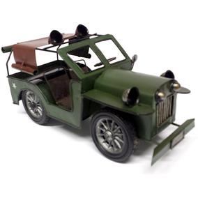 Miniatura Jeep Militar Exército Latão Com Lona Teto 24cm