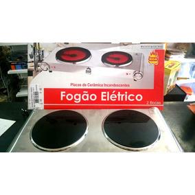 Fogão Elétrico 2 Bocas Em Cerâmica Aço Inox 110/220v - Roa