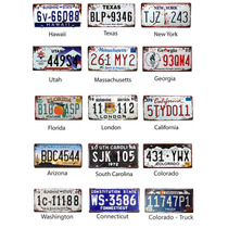 Placas Antigas Decorativas Carros Metal Alto Relevo Kit X 14