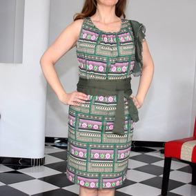 Vestido Verde Con Rosa Beige De La Prestigiada Marca Español