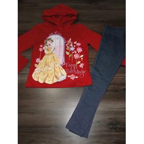 Conjunto Princesa Disney Bela Leggin Jeans Tam 6 E 8! Novo