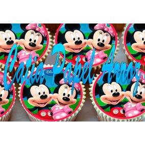 Papel De Arroz Mickey E Minie Cupcake Com 40 Unidades 3,5 Cm