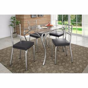 Conjunto De Mesa Cromado Com 4 Cadeiras Com Tampo De Vidro