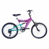 Bicicleta Aro 20 Track Xs 20 Feminina Suspensão 6v Mtb Rosa