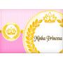 Princesa Coroa Rosa Papel Arroz A4 Par Bolo
