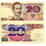 Billete De Polonia 20 Zlotich Unc Apo