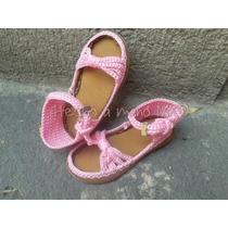 Zapatos Sandalias Tejidas En Crochet Y Suela Rígida Talla 15