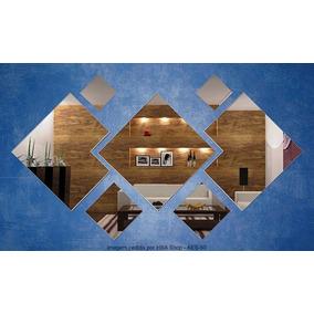 Kit Espelhos Decorativo 7 Quadrados Acrílico Tam. Méd