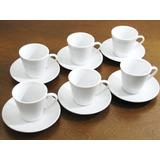 Jogo De Xícara Cafe Porcelana Branco 70 Ml 6 Xicara C/ Pires