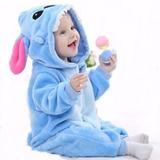 Macacão Pijama Infantil Criança Pelúcia Stitch 9-12meses