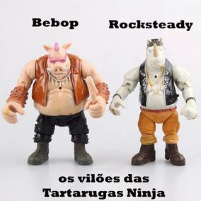 Kit Bonecos Articulados Bebop E Rocksteady Tartarugas Ninja