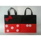 Bolsos Cotillones Minnie Y Mickey Tela Ecológico Pop 20x25cm