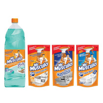 Mr Musculo Limpiapisos Glade + Repuestos X3 Baño Cocina